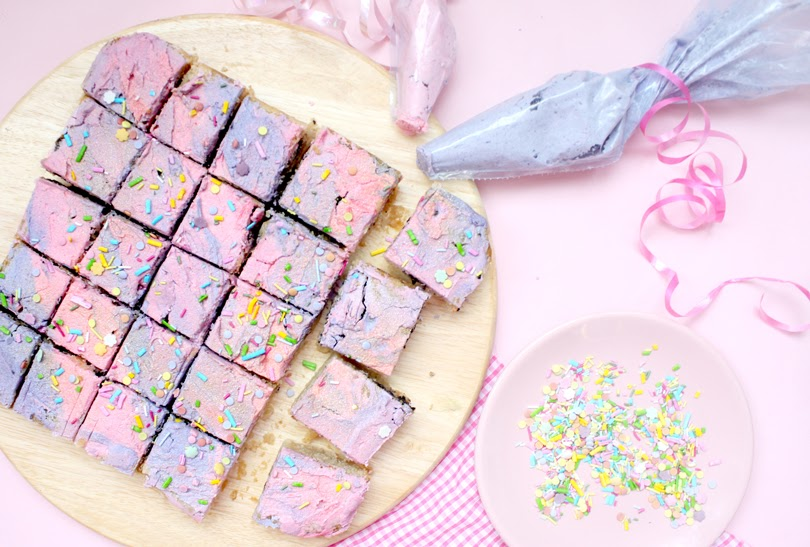 vegan galaxy birthday blondie traybake