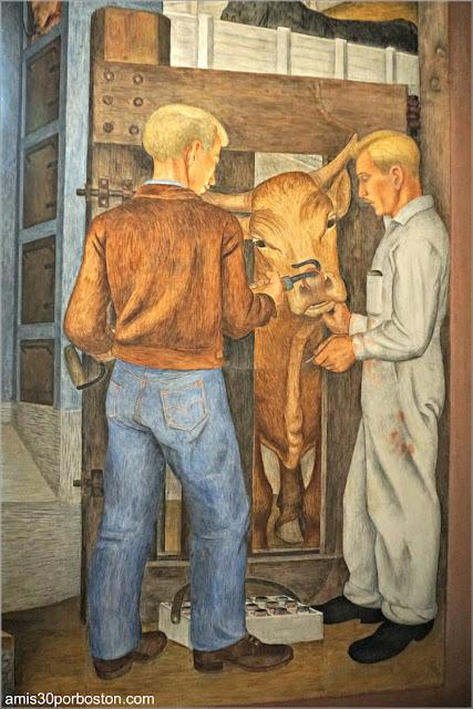 """Mural """"California Industrial Scenes"""" de Gordon Langdon en la Torre Coit de San Francisco"""