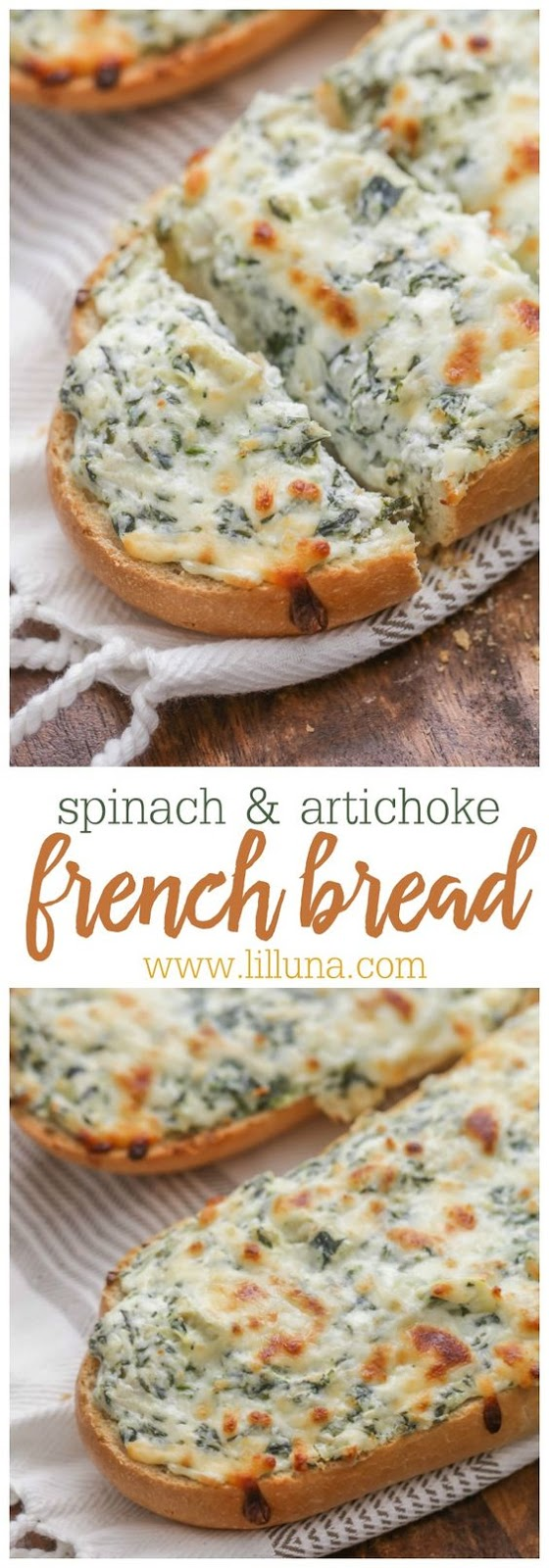 SPINACH AND ARTICHOKE FRENCH BREAD #APPETIZER #AMERICAN #BREAD
