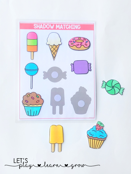 Practice Visual Discrimination with this sweet treats themed shadow matching activity.
