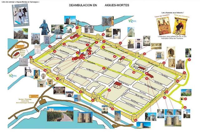 Aigues Mortes, mapa lugares de interés