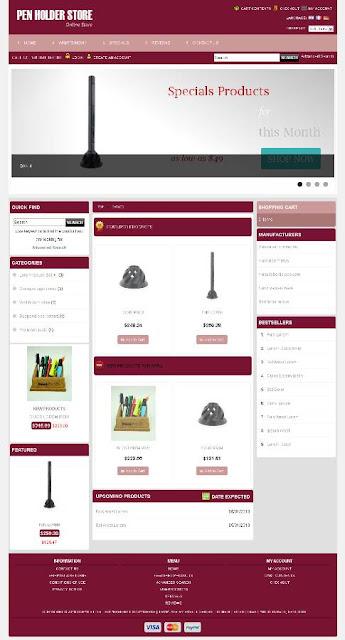 Free osCommerce 2.3.3 Template for Pen Holder Store