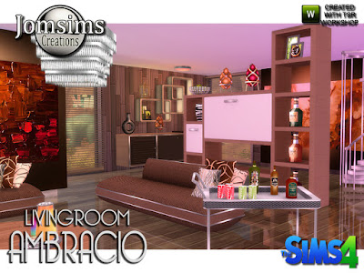 Ambracio Living room Ambracio Гостиная для The Sims 4 Гостиная для серии Амбрасио. Всегда стильно, комфортно и современно. в этом наборе. диван современный 4 цвета и металл. Журнальный столик 4 цвета и металл. funriture 4 цвета и металл и белый свет. настенные росписи очень большие, очень современные и очень обработанные. подушки для дивана 4 варианта цвета. виски деко большие бутылки в 3 вариациях. 1 металлическая тележка для напитков. очень обработанная металлическая текстура и декорирование. Я добавляю слоты для размещения деко типа 2. металлическая чаша, наполненная апельсинами. Деко Современная серия Ambracio. Автор: jomsims