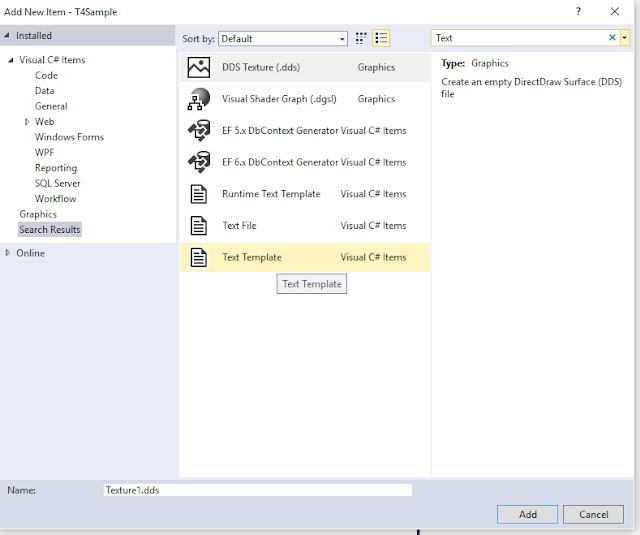 text template ekleme işlemi