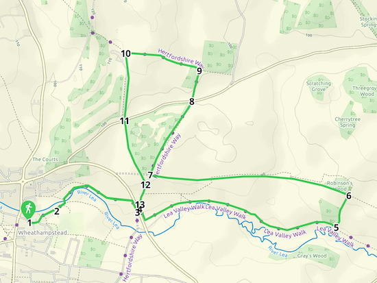 Map for Walk 39: Ayot Greenway West Loop Created on Map Hub by Hertfordshire Walker Elements © Thunderforest © OpenStreetMap contributors Note: There is a larger, more-detailed map embedded at the end of these directions
