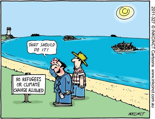 Toon of the Week - No Refugees or Climate Change Allowed (Credit: imgflip.com)