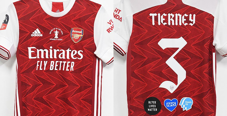 Arsenal Shows Off 2020 Fa Cup Final Kit Unique Font Three Special Logos Footy Headlines