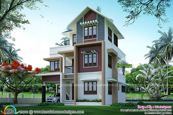 Small plot double floor house architecture