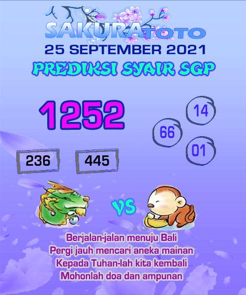 Syair Sakuratoto SGP Sabtu 25 September 2021