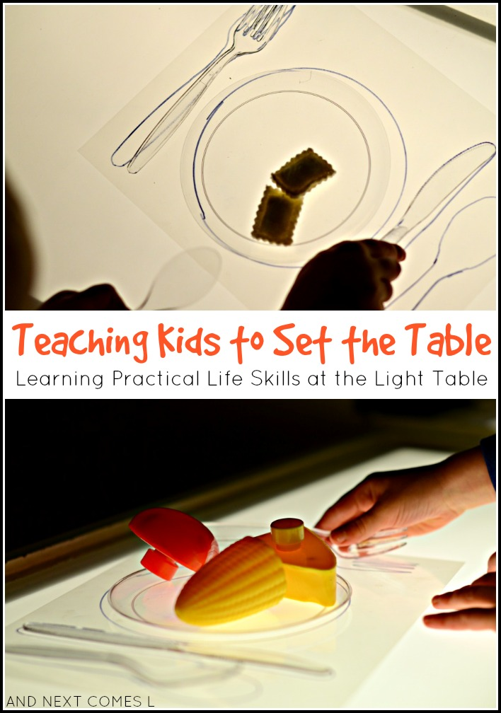 Teaching kids how to set the table - learning practical life skills at the light table from And Next Comes L