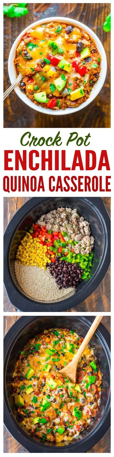 Super easy and DELICIOUS Crock Pot Mexican Casserole with quinoa, black beans, and chicken or turkey.