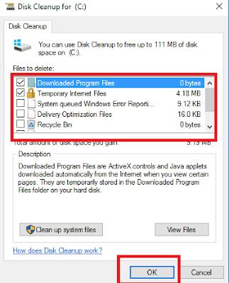 centang semua file dan folder lalu klik OK untuk menghapus