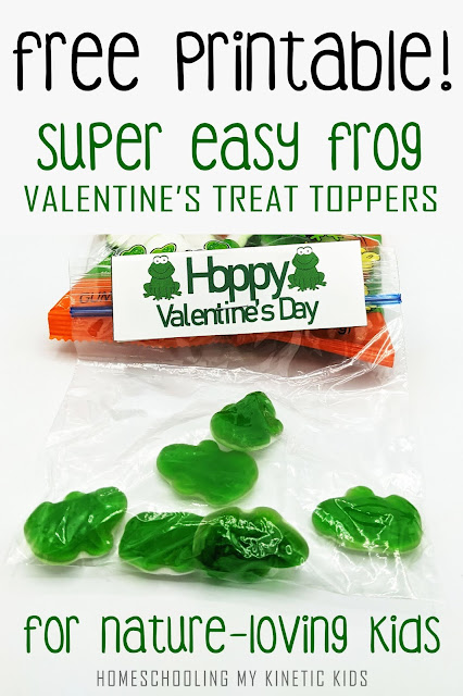 Free printable for FROG Valentine's Day treat bag toppers for gummy candy.  Perfect for last minute parties!
