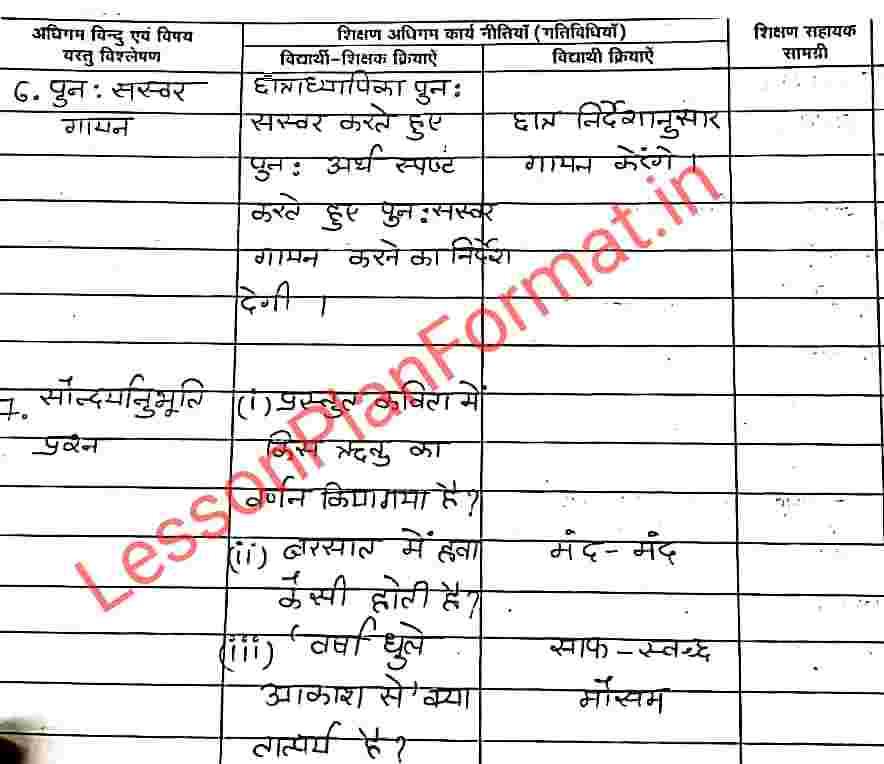 Deled Hindi Lesson Plan