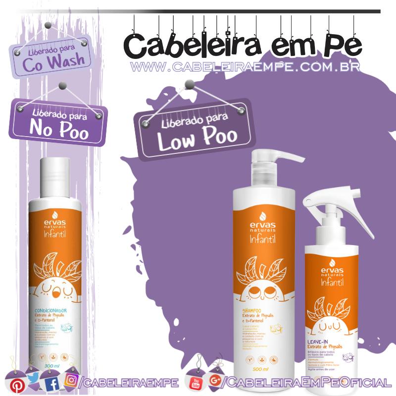 Shampoo (Low Poo), Condicionador e Leave in (liberados para No Poo) Physalis Infantil - Ervas Naturais