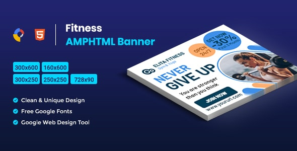 Fitness AMPHTML Banners ads template Download