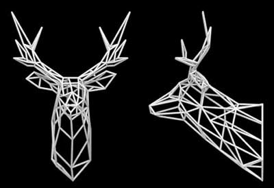 3D Printed Wall Art Decor and Furniture. 3 dimensional stag head & 3d printed home decor that blurs the line between art and function ...