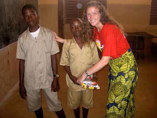 Emily with community members in Benin