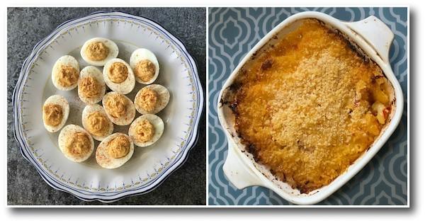 chrouk metae deviled eggs and macaroni and cheese
