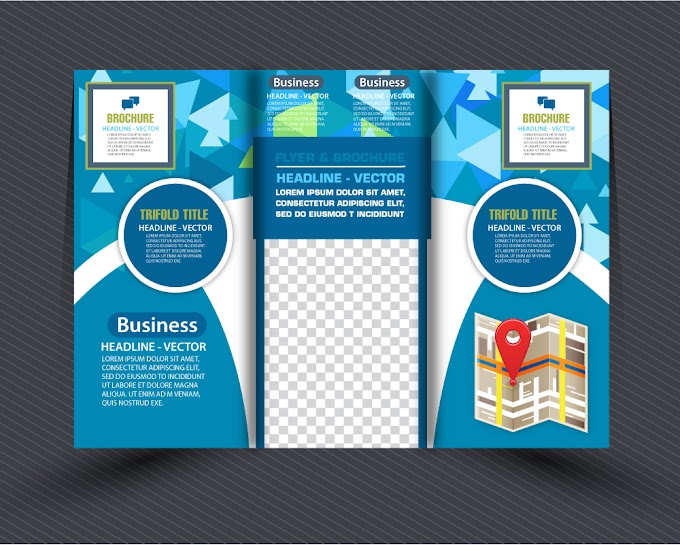 Business brochure design with modern abstract trifold style Free vector