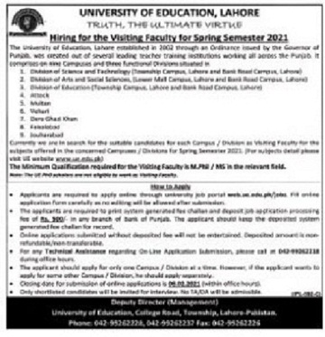 university-of-education-ue-lahore-jobs-2021-advertisement-apply-online
