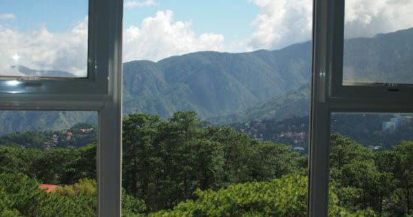 A view of the mountains from a hotel in Baguio, Philippines