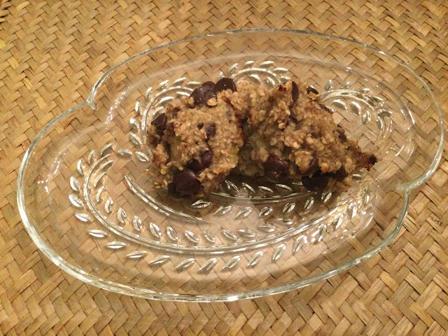 Banana chocolate cookies on antique plate