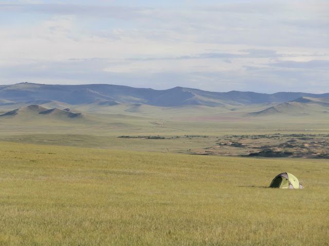 Campsite view.  80km from Ulaanbaatar, on the border of Khustain Nuruu National Park. Look at that view!