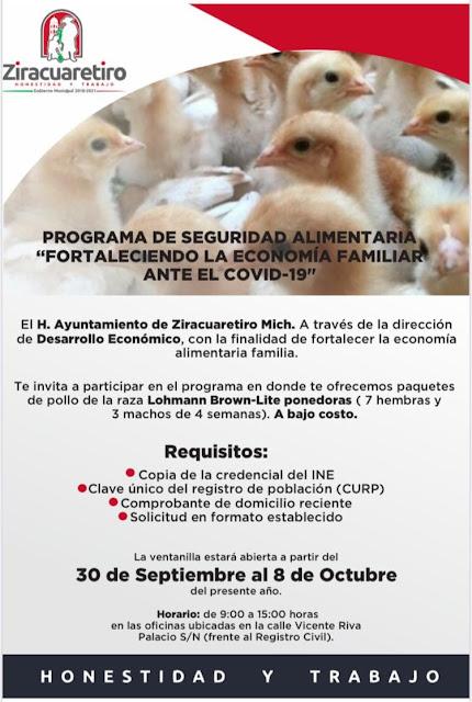 Gobierno de Ziracuaretiro apoya la economía familiar con programa de gallinas ponedoras