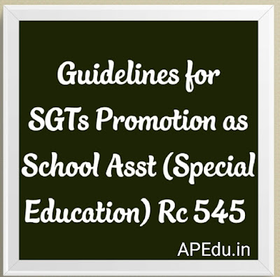 Guidelines for SGTs Promotion as School Asst (Special Education) Rc 545 Dated 1.7.2019
