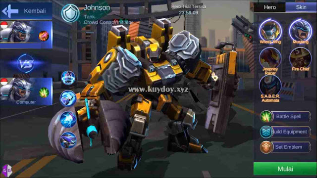Script Skin Johnson Epic Wreck King + Skill No Cooldown Mobile Legends