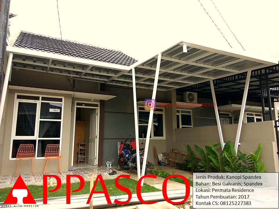 Kanopi Minimalis Atap Spandek Tiang dua V di Permata Residence