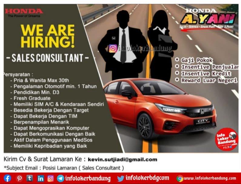 Lowongan Kerja Sales Consultant Honda Ahmad Yani Bandung Agustus 2021