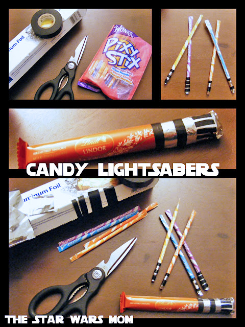 DIY Star Wars Candy Lightsabers - Pixy Stix and Lindt Chocolate