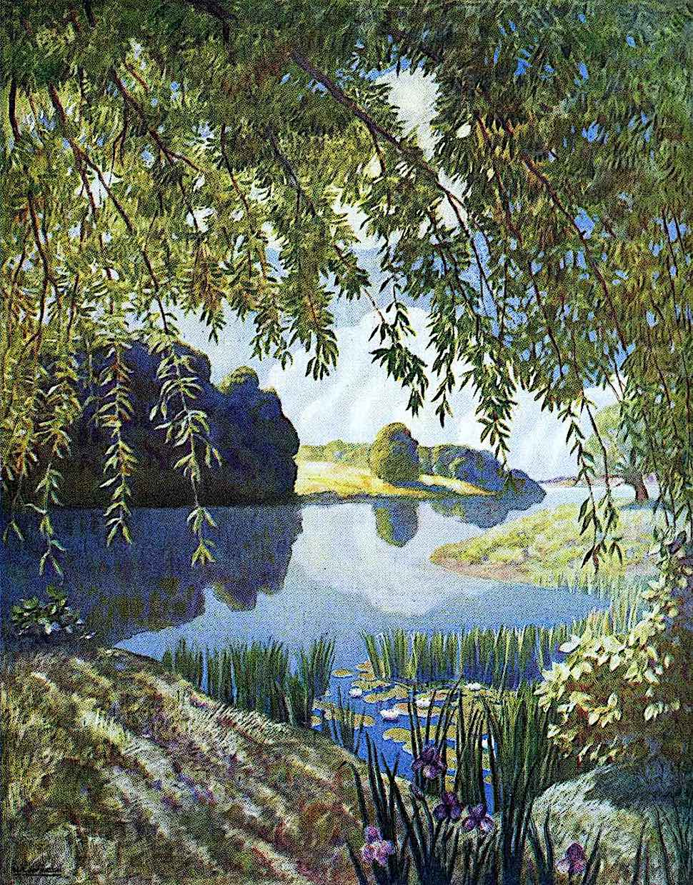 an N.C. Wyeth illustration of marsh wetlands and a pond
