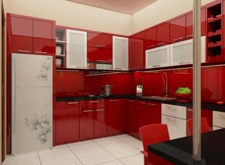 Kitchen Set Warna Merah Mengkilat Glossy Furniture Semarang