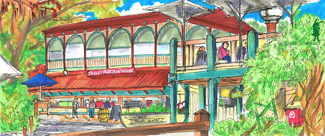 Urban Sketching of the Studley Park Boathouse using copics by Marta Tesoro aka Rabbit Town Art