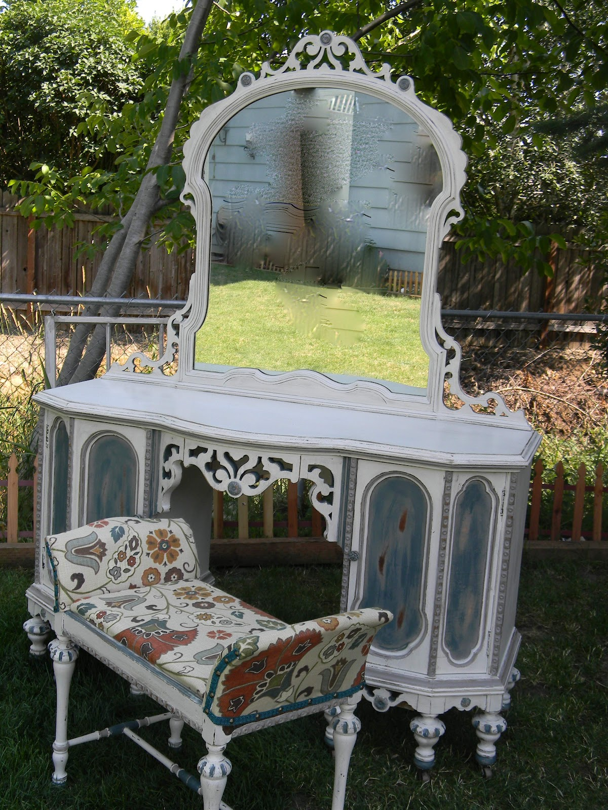 Emily S Up Cycled Furniture Tall Blue Grey Distressed Dresser: Emily's Up-cycled Furniture: Vanity Thy Name Is