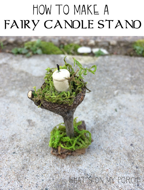 Fairy candle stand made from twigs and moss