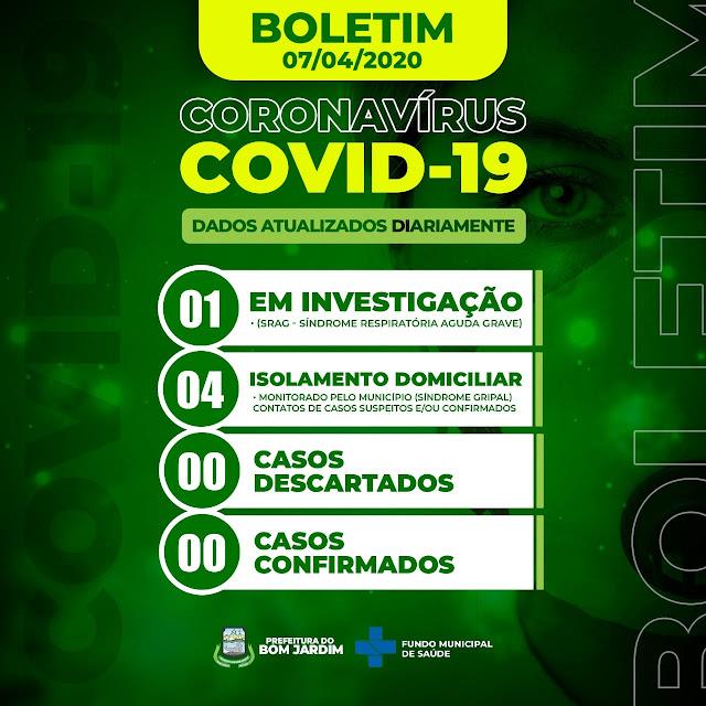 Boletim Epidemiológico com o número de casos do Novo Coronavírus COVID-19 da Cidade de Bom Jardim PE