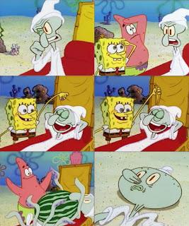 Polosan meme spongebob dan patrick 23 - squidward jadi hantu dikasih makan semangka oleh si patrik