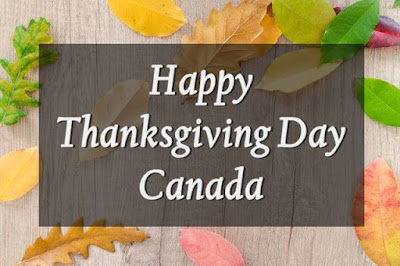 Happy Thanksgiving Canada written on brown board background.