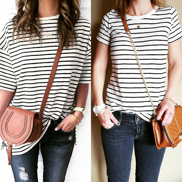 Mossimo Tee // American Eagle Jeans (same in crops) // Rebecca Minkoff Love Crossbody Handbag // Fossil Watch (similar) // ILY Couture Bracelet (similar only $9, regular $30!)