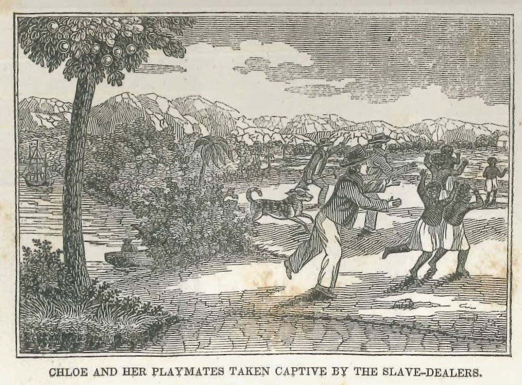 """An illustration showing """"Chloe and her playmates taken captive by the slave-dealers."""