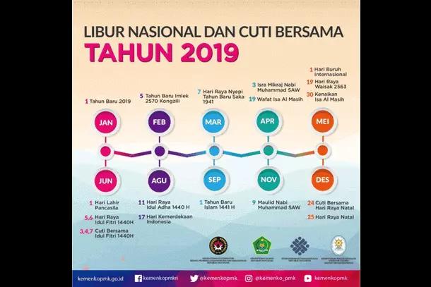 Libur Nasional dan Cuti Bersama Tahun 2019