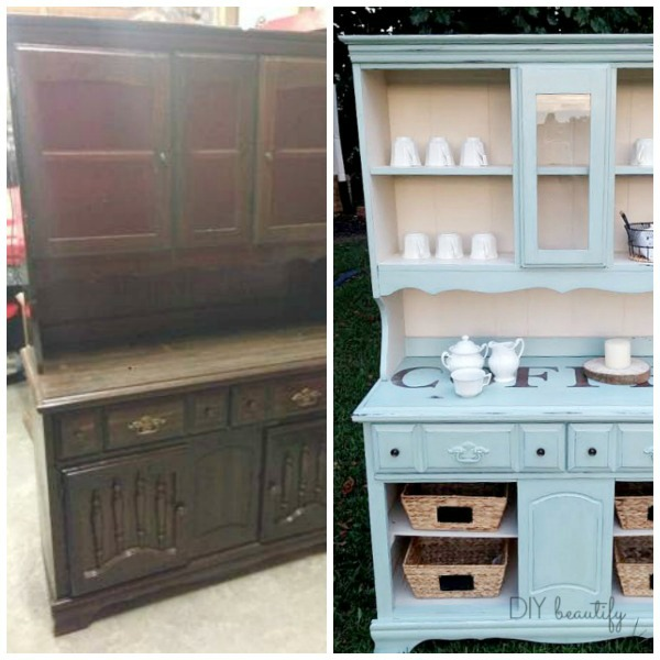 chalky painted hutch before and after