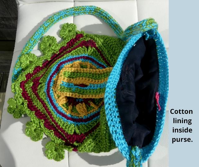 Lining VIEW Green Crochet Hippy Purse designed by Minaz Jantz