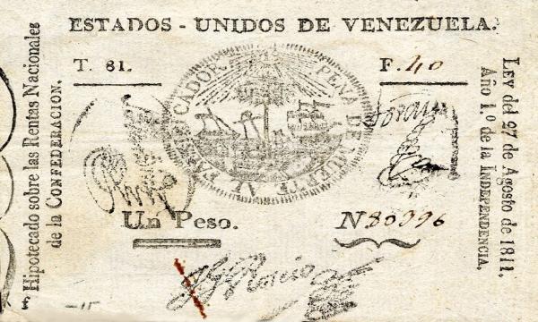Primer Billete Emitido en Venezuela 1811