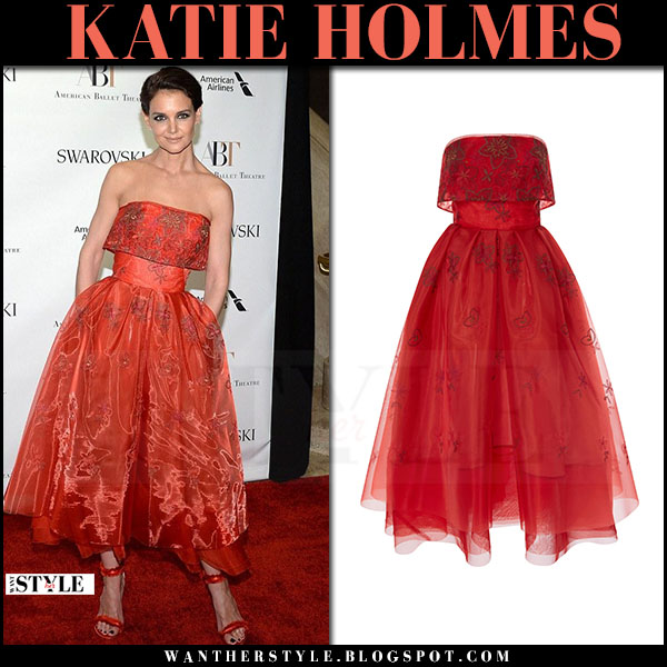 Katie Holmes in red strapless dress zac posen spring gala may 22 2017 what she wore