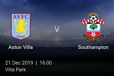 LIVE MATCH: Aston Villa Vs Southampton Premier League 21/12/2019